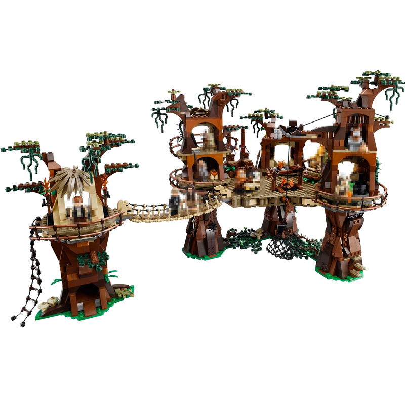 1990pcs Diy Star War Series Ewok Village Model Educational Building Block Compatible with Legoingly Bricks Toy Gift For Children