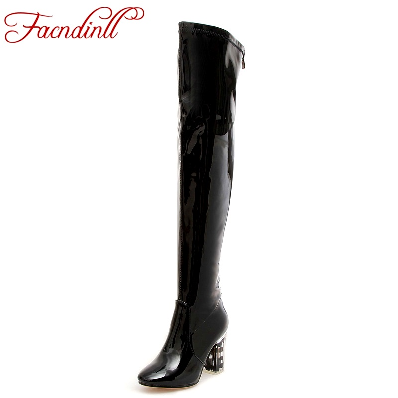 FACNDINLL shoes 2017 women long boots patent leather high heels round toe shoes woman over the knee high boots black dance boots