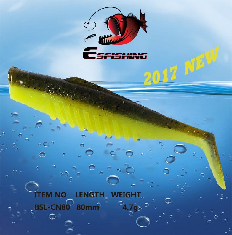 6pcs 8cm/4.7g Esfishing 2017 New Cannibal 3 Fishing Lure Soft Plastic Iscas Artificiais Pesca Leurre Souple Shad Silicone Bait cannibal