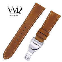 Rolamy 22mm Wholesale High Quality Genuine Leather Wrist Watchband Strap Belt Loops Band Bracelets For IWC Tudor Breitling