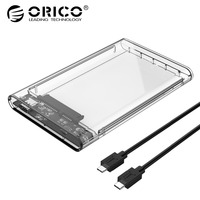 ORICO 2.5 Inch HDD Case SATA to USB 3.1 Gen2 Type C Hard Disk Drive External HDD Enclosure Transparent Case Tool Free 4TB 10Gbps