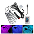 DC 12V 9 SMD 10W 4Pcs 5050 Car Auto LED RGB Interior Floor Decorative Atmosphere Strip Pathway Deco Floor Light Remote Control