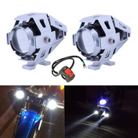 2PCS Motorcycle LED Headlight 10W 2400LM U5 Waterproof Driving Spot Head Lamp Fog Light Switch Moto Car Accessories 12V Silver