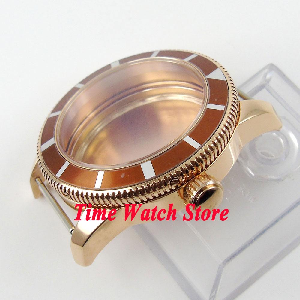 e26a19d61cb 46mm brown moldura caixa de aço inoxidável 316L banhado a ouro fit 2824  2836 movimento C88 em Assistir Rostos de Relógios no AliExpress.com