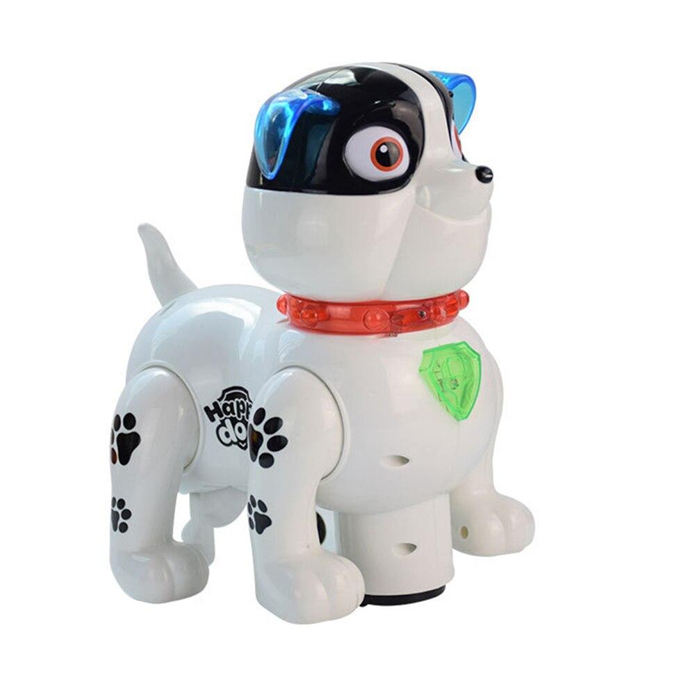 Милая имитация игрушки для собак пластиковая эмультационная игрушечная электронная собака для новеллы Прямая - Цвет: white