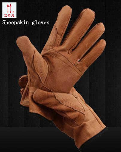 Di alta qualità di pelle di pecora guanti di protezione Marrone/bianco guanti da Indossare guanti da lavoro in pelle resistente Allo Strappo morbida E Confortevole guanti