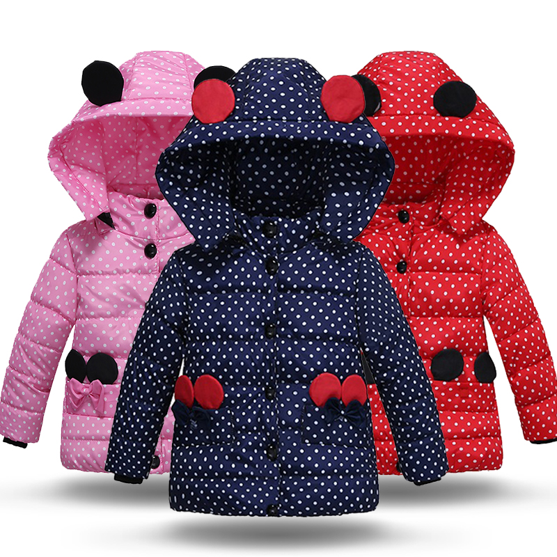 Minnie Winter Jacket For Girl Warm Children Down Coat Outerwear Long Sleeve Dots Hooded Cotton Padded Baby Girl Coat Snowsuit