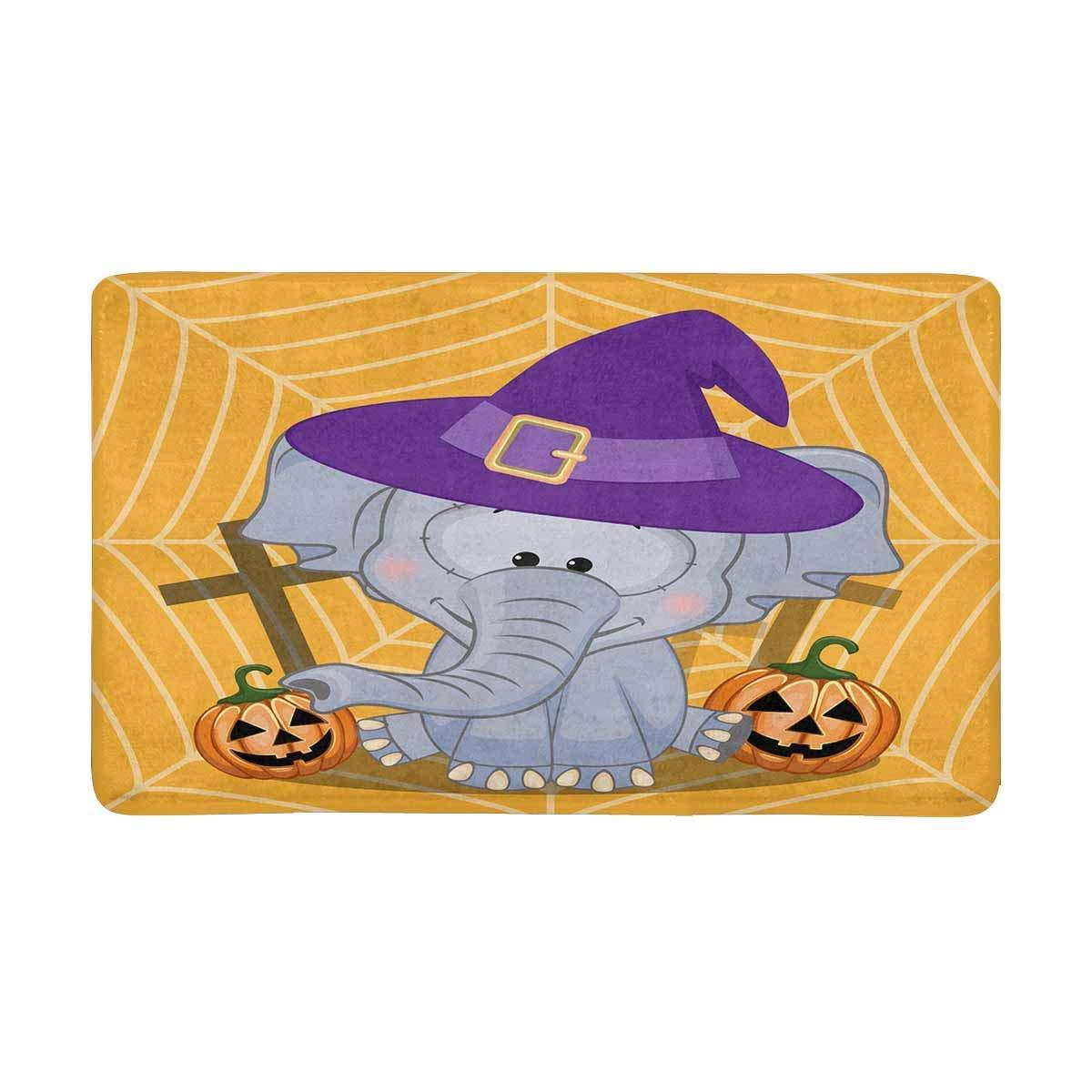 Us 12 44 49 Off Cartoon Elephant With Pumpkin Anti Slip Door Mat Home Decor Indoor Entrance Doormat Rubber Backing In From