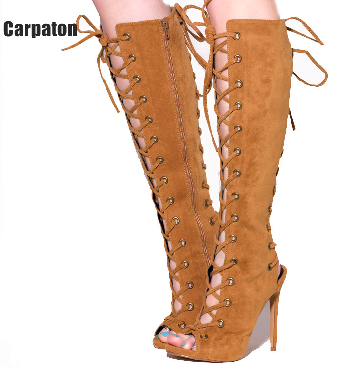 Newest leather lace up thigh high boots open toe cut-outs strappy gladiator sandal boots summer high heel over the knee boots 2017 sexy leather boots lace thigh high boots hollow out cage sandal boots high heel over the knee boots free shipping