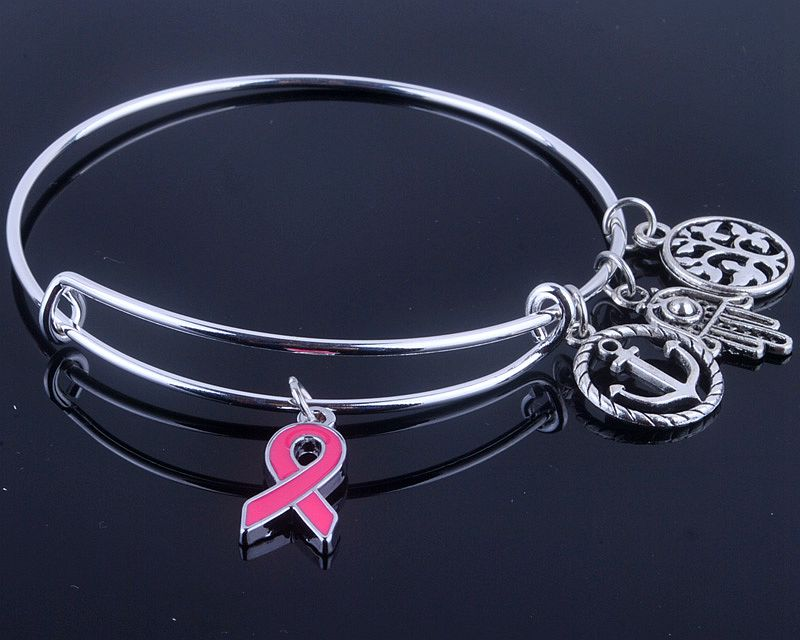 Fashionable Breast Cancer Awareness charms Bangle with silk ribbon & life trees charms jewelry for women