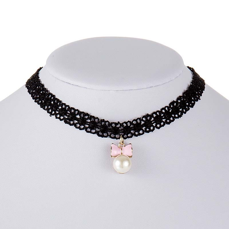bc8822484dbc5 US $0.75 25% OFF|Hot Fashion Jewelry Black Lace Choker Necklace Bow  Imitation Pearl Pendant Short Choker Necklace For Women Girls  Accessories-in ...