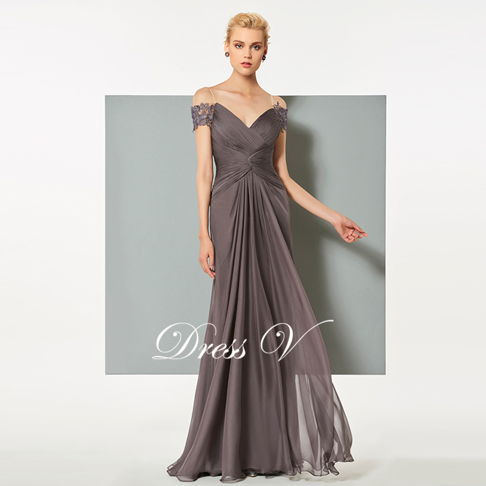 Dressv dunkelgrau chiffon langen abendkleid elegantes v ausschnitt ...