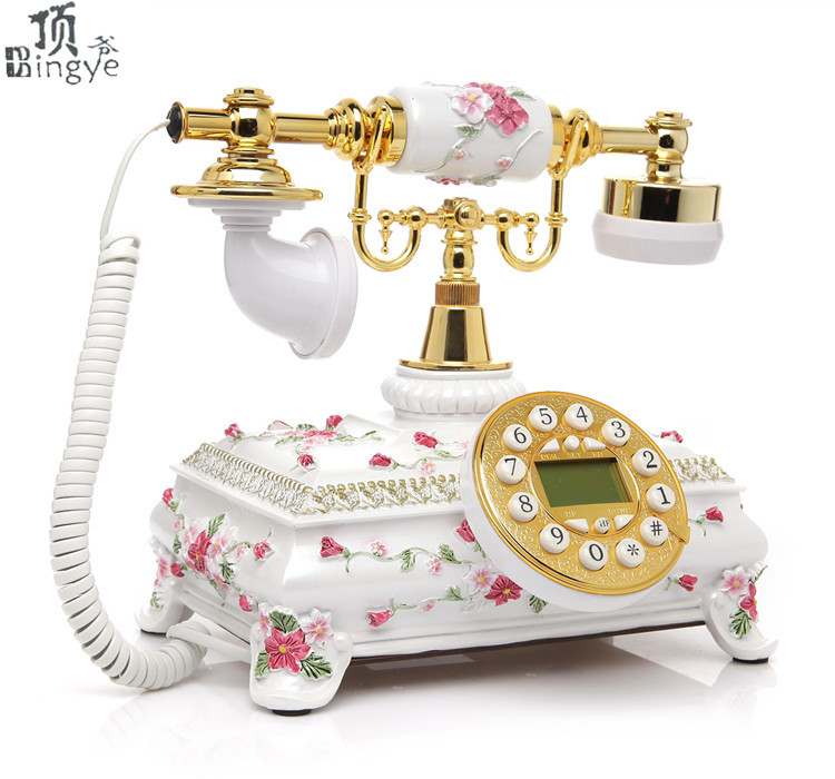 Ye are the top antique telephone European Garden Home Office landline phone phone Decoration home art rustic backlit Caller