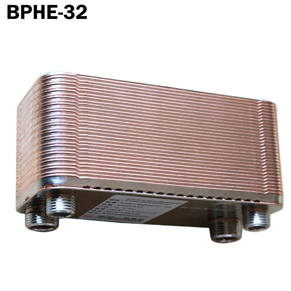 Brazed Plate Heat Exchanger 32 plates SUS304 Stainless Steel,small size high efficiency heat exchanger 11kw heating capacity r410a to water and 4 5mpa working pressure plate heat exchanger is used in r410a heat pump air conditioner
