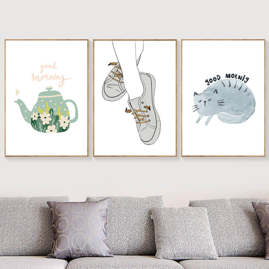Nordic Decor Canvas Color Painting Art Prints Good Morning Shoe Cat Kettle Modern Posters Little Girl Room Fashion Wall Picture