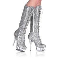 Big Size Knee High Boots For Women 6 Inch High Fashion Winter Motorcycle Boots Sparkling Sequined