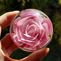 Glass crystal ball Artificial Flower wedding gifts simulation eternal life roses ball heart-shaped multicolor optional