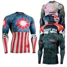 Мужские компрессионные рубашки с длинным рукавом для фитнеса и бодибилдинга, сверхлегкие быстросохнущие колготки MMA для тренажерного зала,...
