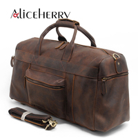 Men Genuine Leather Traveling Bag Casual Large Capacity Waterproof Vintage Duffel Weekender Bag