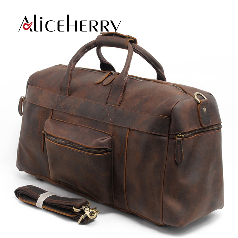 Men Genuine Leather Traveling Bag Casual Large-Capacity Waterproof Vintage Duffel Weeken ...