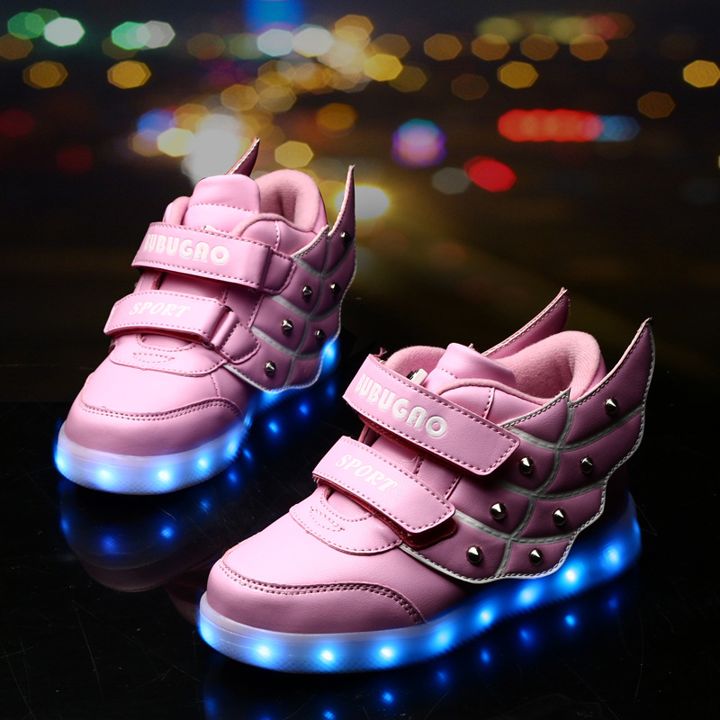 ФОТО 2016 new high-top shoes kids boys and girls colorful led lights wings shoes children