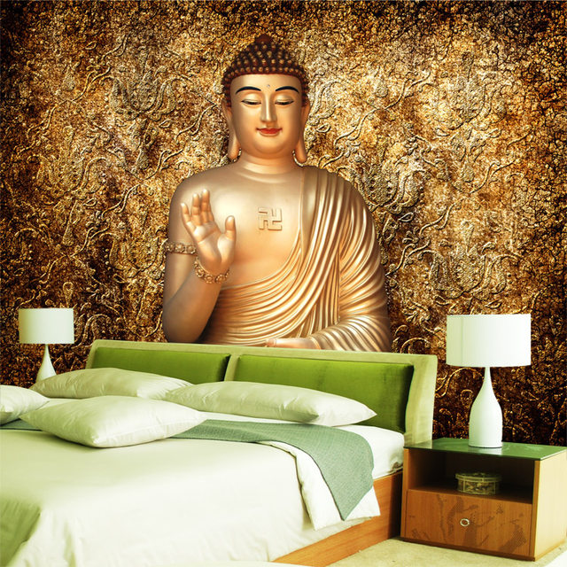 Charmant Golden Buddha Photo Wallpaper Buddhist Temple Wall Mural Custom 3D Wallpaper  For Walls Designer Bedroom Living Room Restaurant