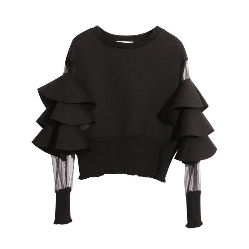 [EAM] 2020 New Spring Round Neck Long Sleeve Solid Color Gauze Split Joint Loose Sweatshirt Women Fashion Tide JC509 7