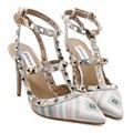 Tacon Zapatos Mujer Женская Обувь На Каблуках Мода Зеленый Заклепки Острым Носом Высокие Каблуки Сексуальные Slingback Ремень Обувь Женская Насосы 11 см