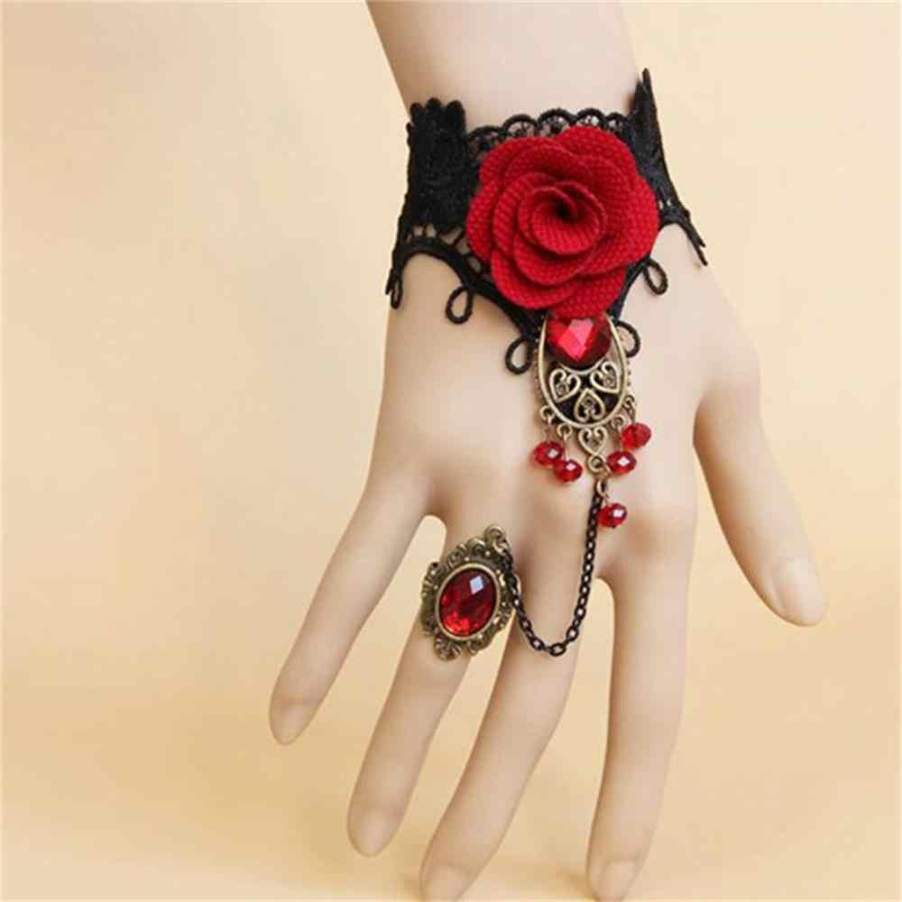 Элегантный готический стиль Кружева Красная роза браслет ювелирные изделия с регулируемым пальцем для невесты, свадебные бусы из сплава