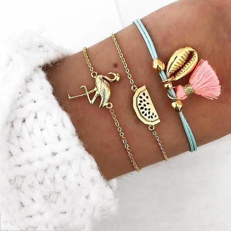 Summer-Gold-Crane-Shell-Tassels-Coconut-Bangle-Bracelet-Set-for-Women-Boho-Hollow-Leaf-Layered-Charms