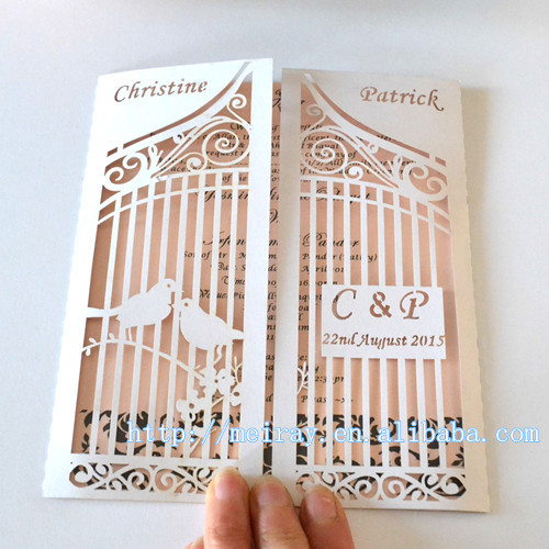 Personalized wedding love birds on the gate birdcage laser cut