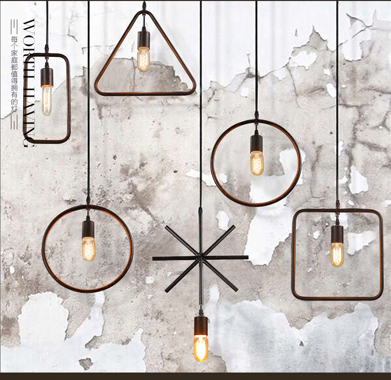 ФОТО Simple Vintage Iron Frame Loft Pendant Light Cafe Bar Club Dinning Room Wrought iron Geometry Pendant Lamp