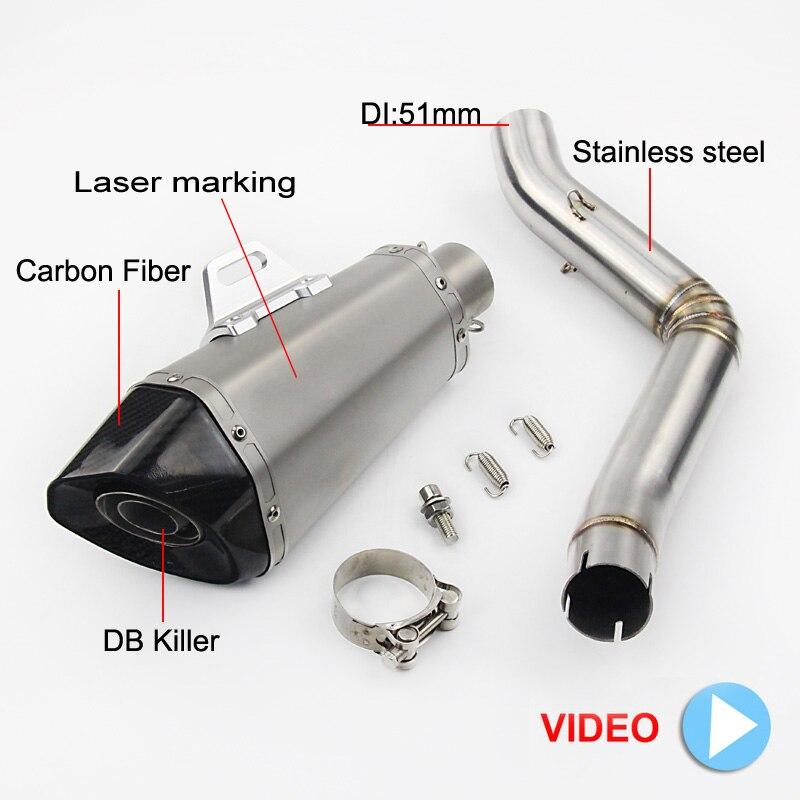 2017 moto système complet d'échappement mi lien tuyau moto Laser marquage pour Benelli en Fiber de carbone silencieux pour Benelli TRK 502