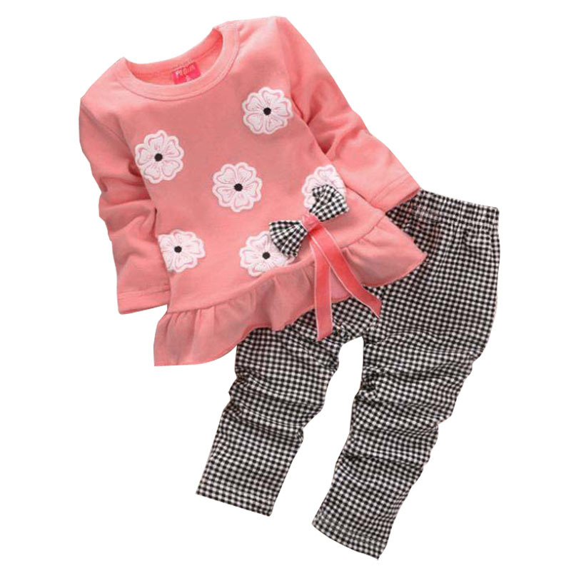 2018 New Spring Babi Girl Clothing Set Children Flower Bow Cute Suit 2PCS Kids Long Sleeve Twinset Top T Shirt +Plaid Pants