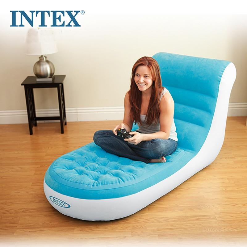 INTEX 68880 84*170*81 CM Flocage Unique Retour Gonflable Canapé Paresseux Chaise longue Avec Pompe Électrique
