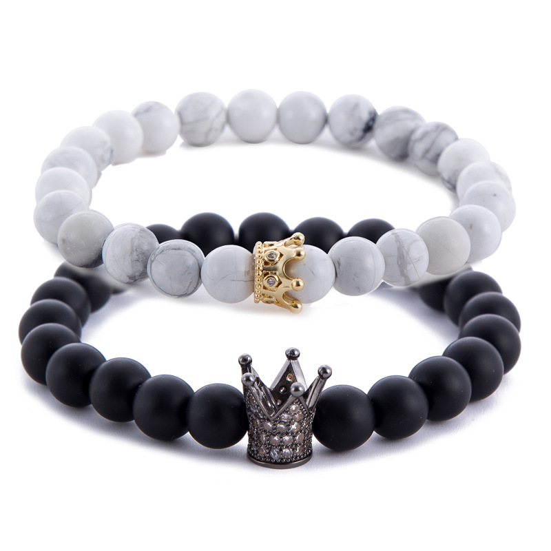 Strand Bracelets Capable 2018 Most Popular Gold Silver Color Alloy Crown Black White Stone Beads Bracelet Couple Jewelry