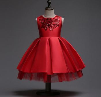3-12T Brand Satin Flower Girl Dress Red Sequin Princess Tutu Party Wedding Dresses for Girls Christmas Style Sweet Kids Dress