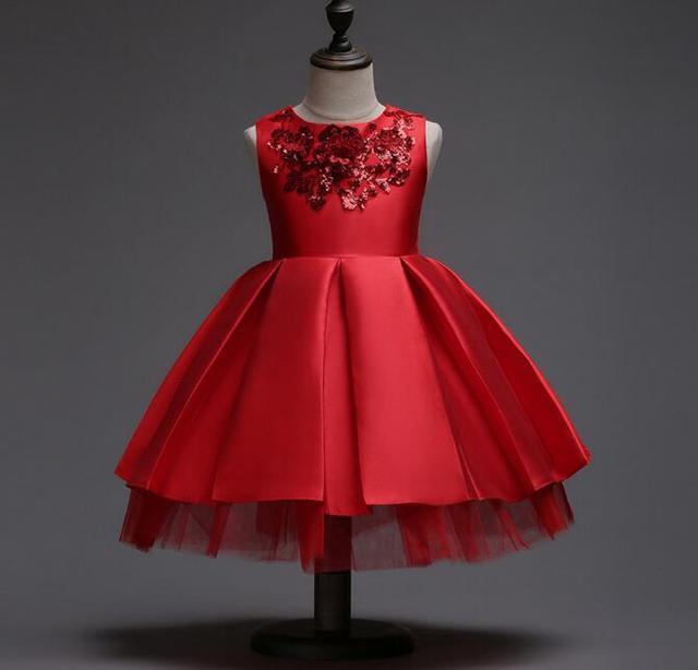 3-12T Brand Satin Flower Girl Dress Red Sequin Princess Tutu Party Wedding  Dresses for Girls Christmas Style Sweet Kids Dress f1fc918a8b79