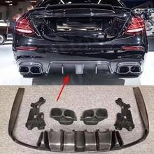Задний бампер из углеродного волокна, светильник для губ, диффузор со стальным глушителем для Benz W213 E200 E300 E43 E63 AMG B style