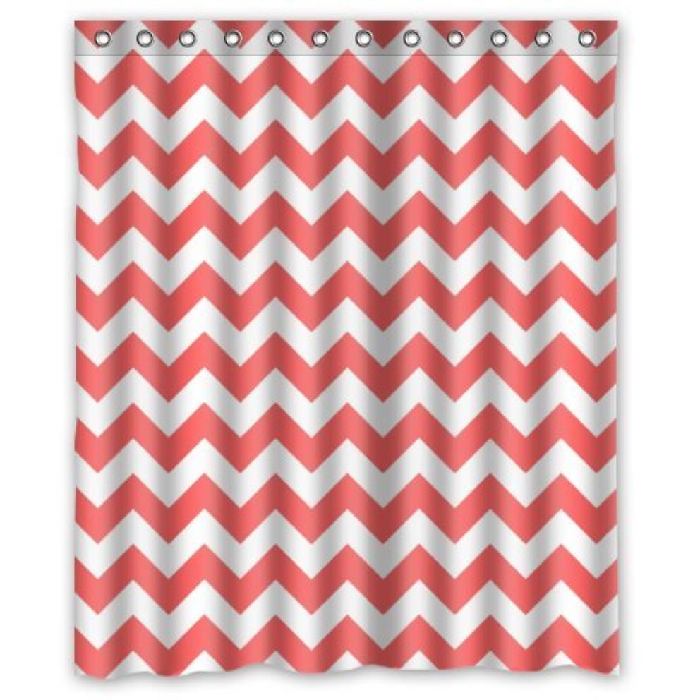 Special Coral And White ChevronCustom Shower Curtain Waterproof Bathroom Show