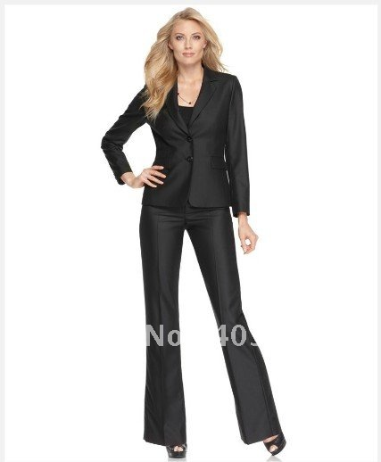 Brand Women Suit Black Women Suit Long Sleeve Two Button Jacket & Wide Leg Pants Custom Made Women Suit 678