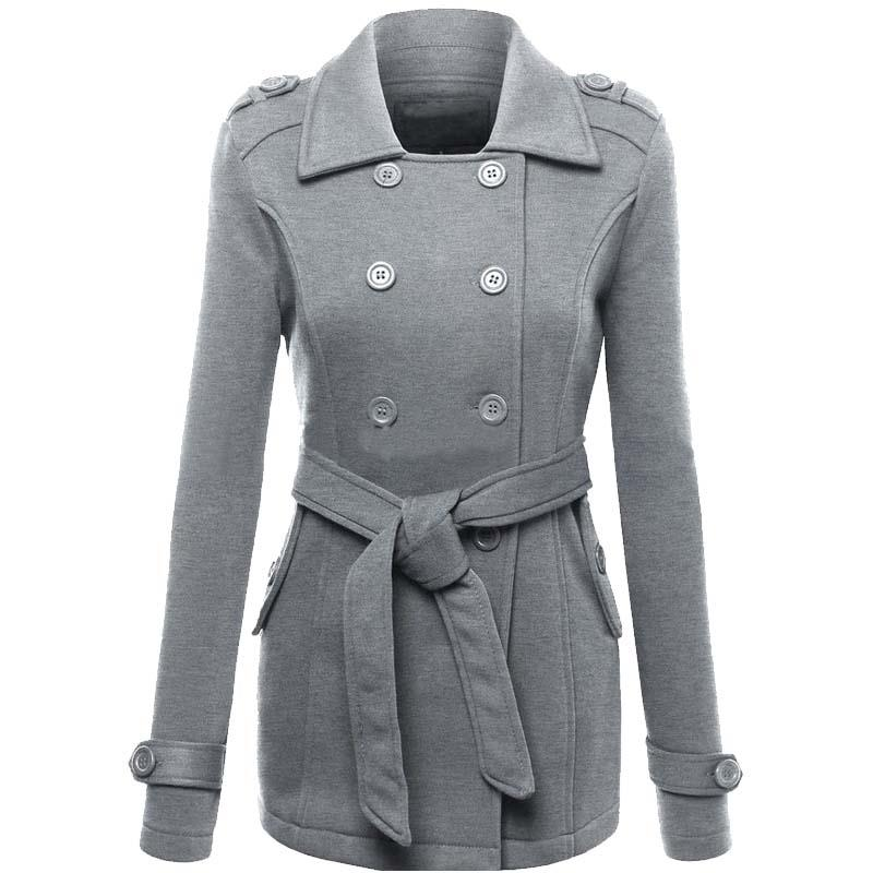 Autumn Winter Fashion Women Coat Jacket Button Waist Jacket Turn-Down Collar Long Sleeve Blends Women Clothing LJ7842M