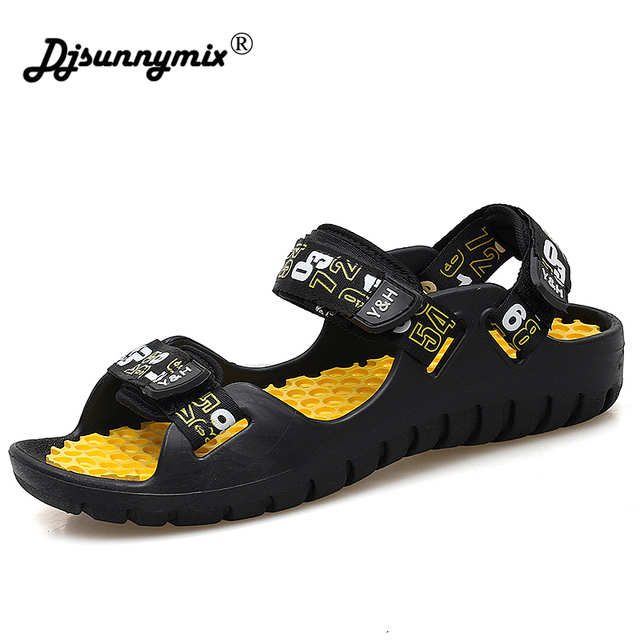 079a1e72f1149 DJSUNNYMIX New 2018 Summer Gladiator Sandals Mens sandals Casual Breathable Men  Sandalias Hombre Beach Slippers For Man