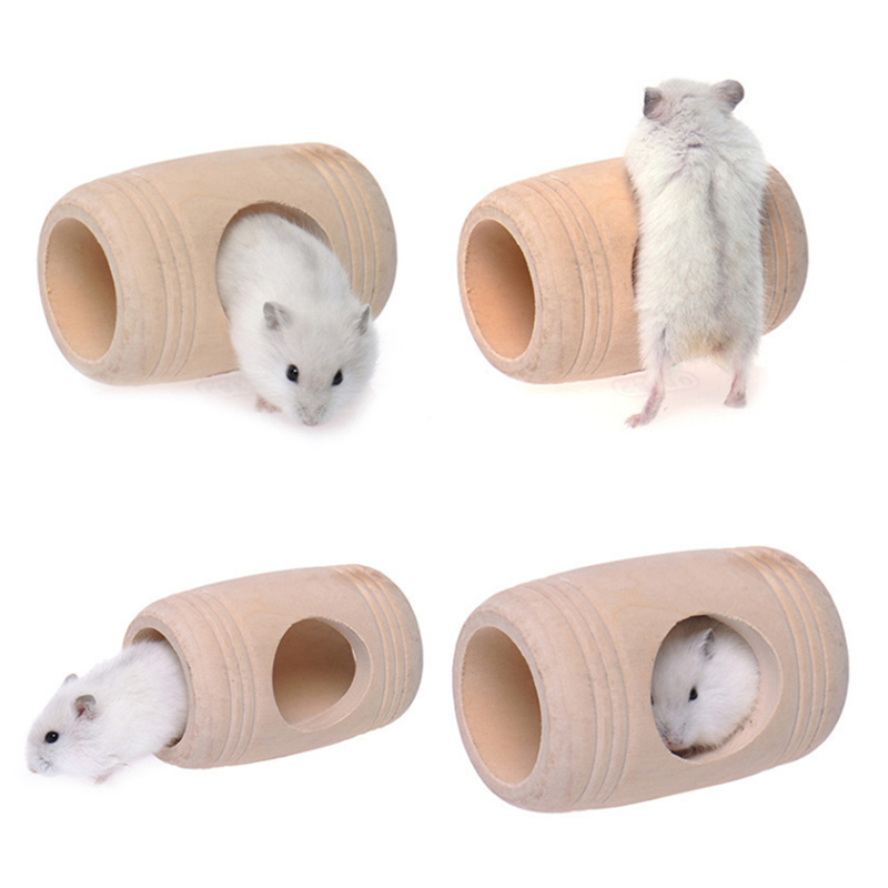 Barrel Shaped Hamster House Wooden Toy For Hamster Small Animal Mouse Rabbit Bed Cage House Pet Supplies Pet Toy New