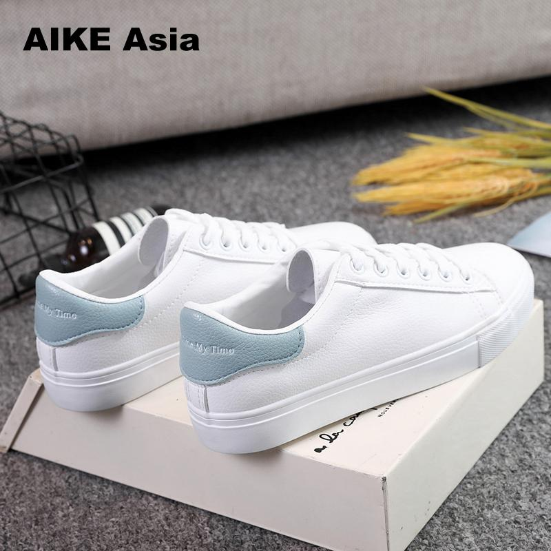 Breathble Vulcanized Shoes Women Pu leather Platform Shoes Women Lace up Casual Shoes White sneaker