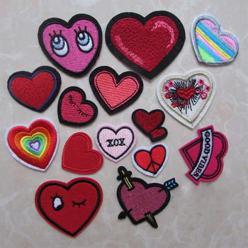 fashion heart mixed patches for clothing iron on embroidered appliques iron sew on clothes patches sewing accessories for DIY image