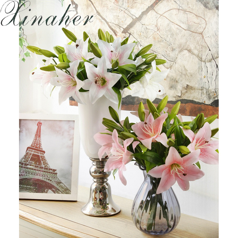 Xinaher Artificial Flower Lily Bud With Long Rod Bouquet For Wedding