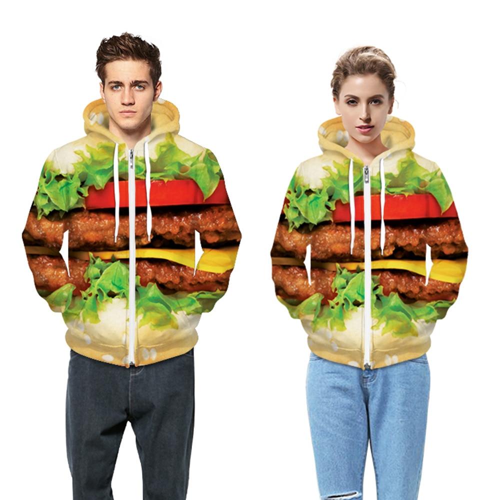 2016 Milenci pro ženy a muže Digitální tisk s kapucí Streetwear Bavlna Hamburger Mikiny Mikiny Chic Print Teplákové soupravy S-XL