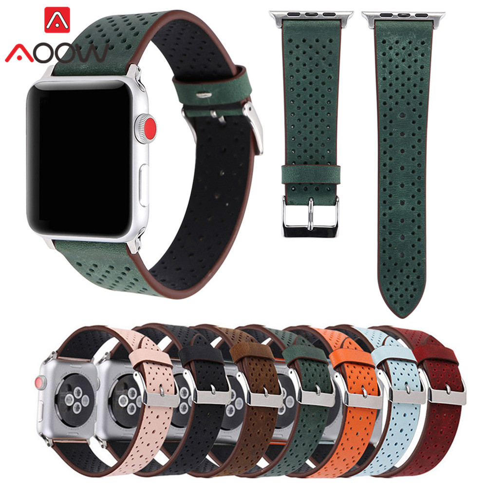 Genuine Leather Watchband For Apple Watch 38mm 42mm Breathable Holes Women Men Replacement Bracelet Strap Band for iwatch 1 2 3 vintage red brown crazy horse genuine leather watchband for apple watch 38mm 42mm women men replacement band strap for iwatch