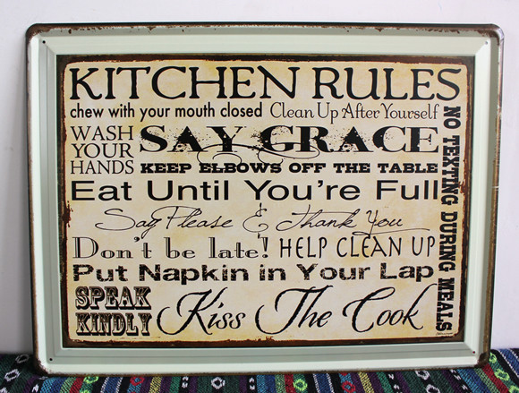 30pcs/lot Metal Sign Shabby Chic New Listing Kitchen Rules Tin Signs Art  Wall Decor